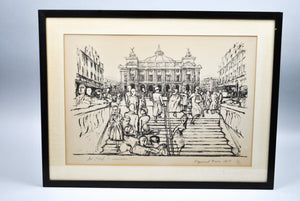 Raymond Mason - Cityscape with Figures - Signed Lithograph - 1955