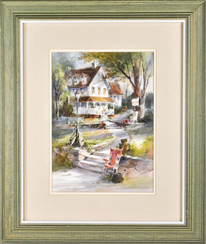 George Bjorkland House Landscape Watercolor Signed