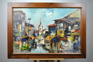 Roger San Miguel - Manila Cityscape - Signed Oil on Canvas