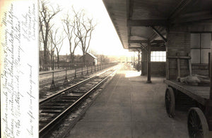 Railroad Station Photograph Quincy Massachusetts Luggage Cart 1939