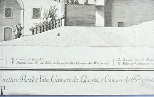 1700's Architectural Elements Giuseppe Vasi Engraving Spaccato del Real Palazzo