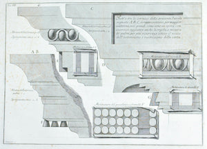 Francesco Piranesi 18th Century Large Architectural Elements Engraving
