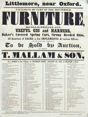 1856 Auction Broadside Useful Gig and Harness Littlemore Washington Oxford
