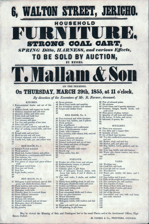 1855 Auction Broadside Strong Coal Cart by T. Mallam & Son Jericho