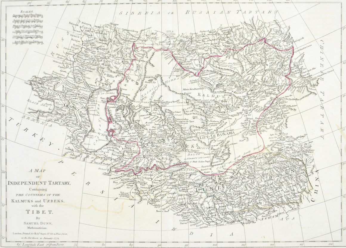 1774 Map of Central Asia - Dunn