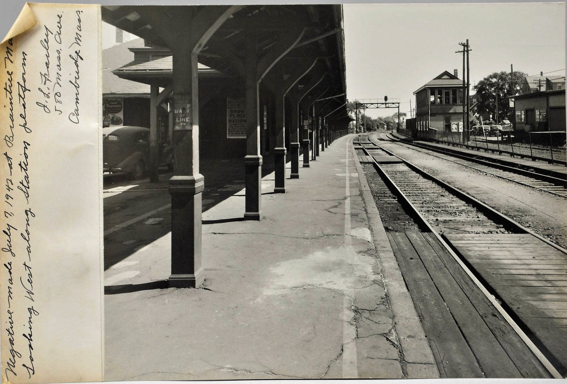 Railroad Station Passenger Platform Cambridge Massachusetts Photo 1942