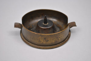 WWII Trench Art 9cmvz28 Socket Ash Tray Engraved To Janet from Wm France 7-27-44