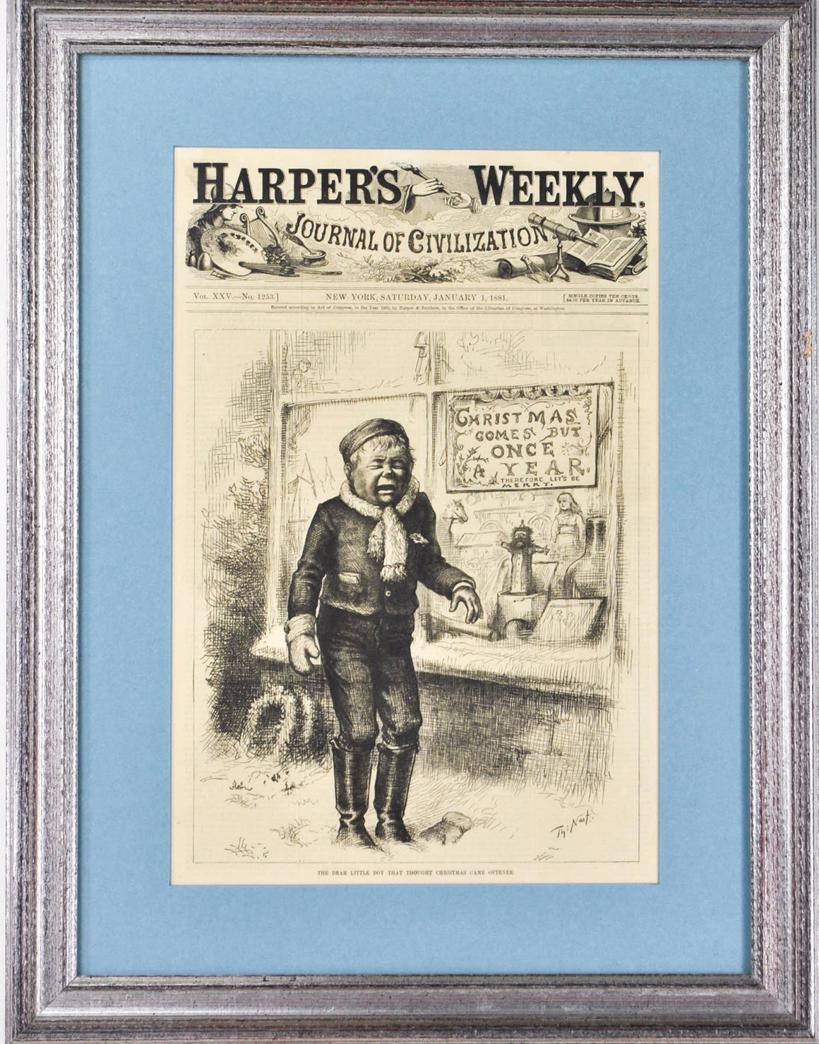 Thomas Nast Christmas Comes But Once A Year Harper's Weekly 1881 Framed