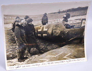 WWII Photo German Pilot Looks Over Wreckage ME 109 Downed by AA of the 90th Div