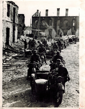 WWII Begins 1939 German Advance into Poland Motorized Bombed Photo