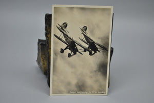 WWI Photo Postcard German Heinkel Jagdflugzeuge Biplane in Swoop