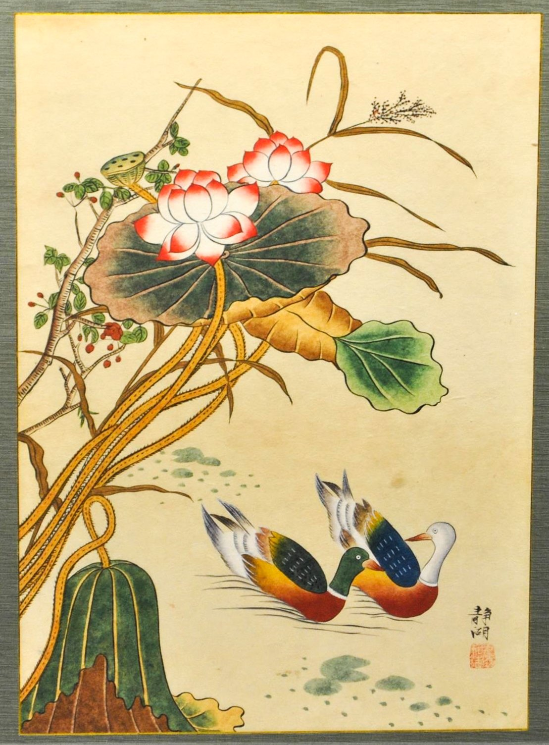 Two Swimming Ducks - Japanese Woodblock Print