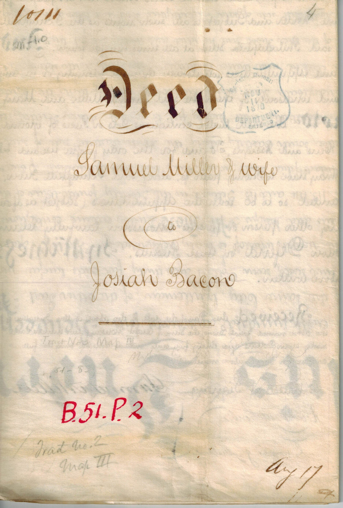 Deed Samuel Miller to Josiah Bacon 1864 Railroad Philadelphia