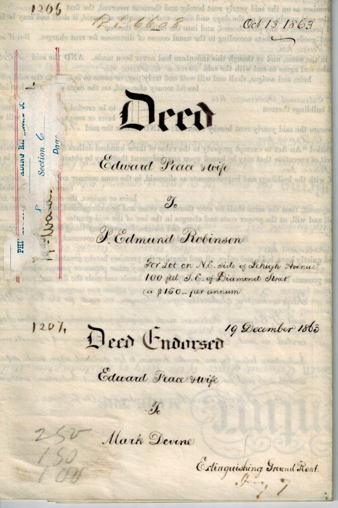 Deed Edward Peace Mark Devine Edmund Robinson Railroad Philadelphia Lehigh 1832