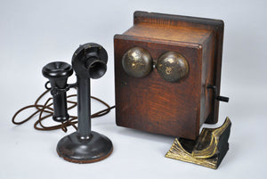 Western Electric Candlestick Telephone & Ringer Box Early 1900s