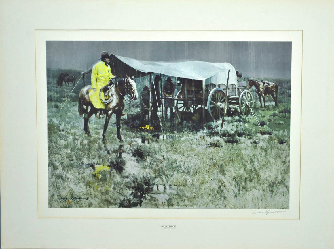 1973 Noon Chuck by James Reynolds Western Art Print Franklin Mint Collection