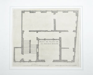 Pianta Del Palazzo Rome Architecture Building Plan Engraved Print c.1780 Matted