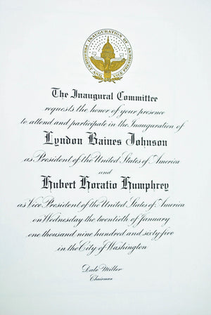 Inauguration Invitation Lyndon Johnson & Hubert Humphrey 1965