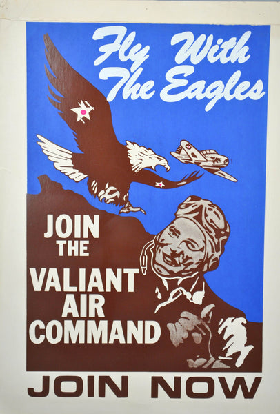 Vtg Fly with the Eagles Valiant Air Command Recruitment Poster Military Aviation