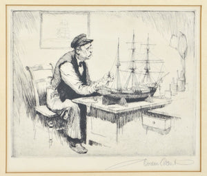 Gordon Grant Framed Etching  The Ship Builder Pencil Signed Framed 16x13in