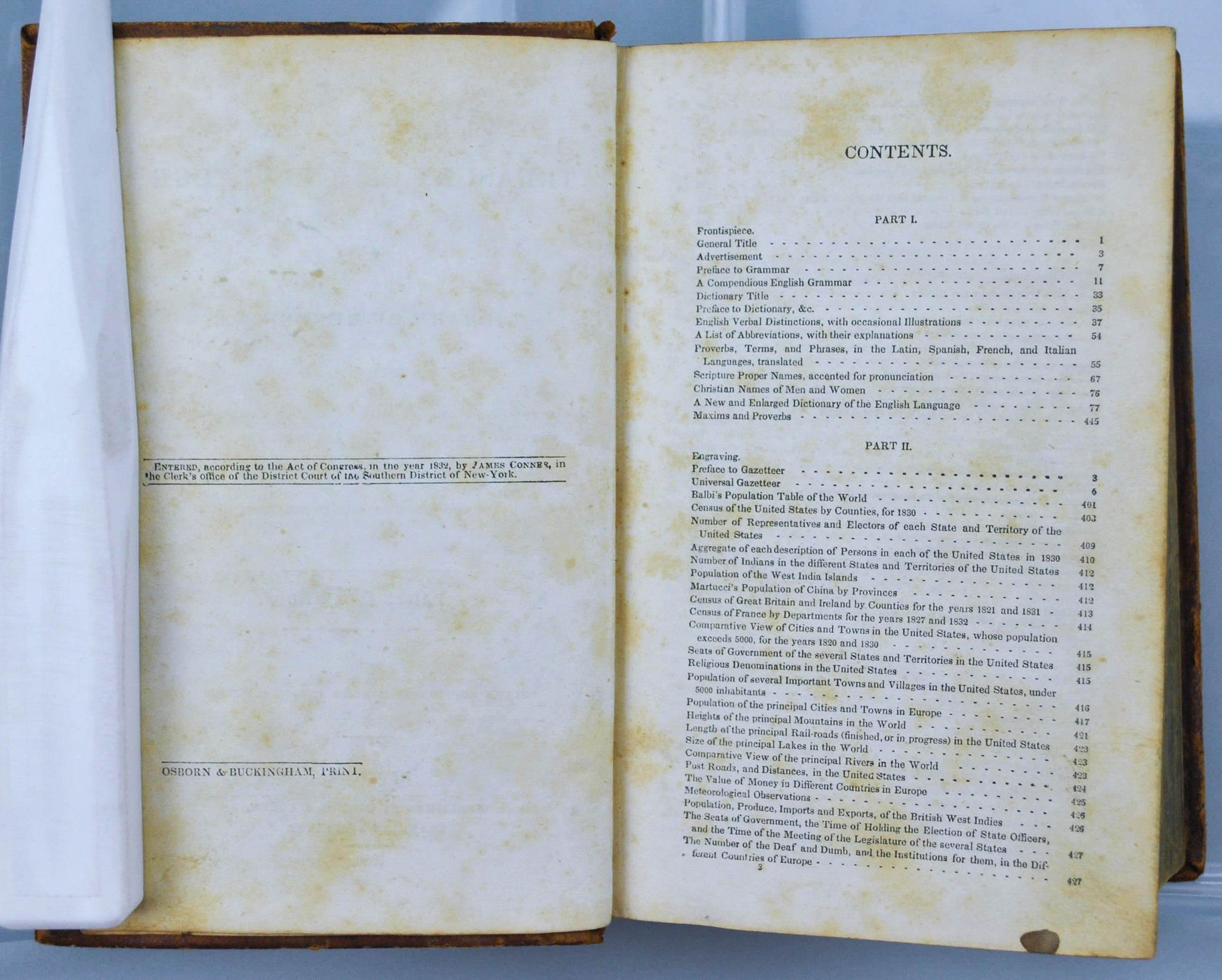 Treasury of Knowledge 1836 Containing early Gazetteer