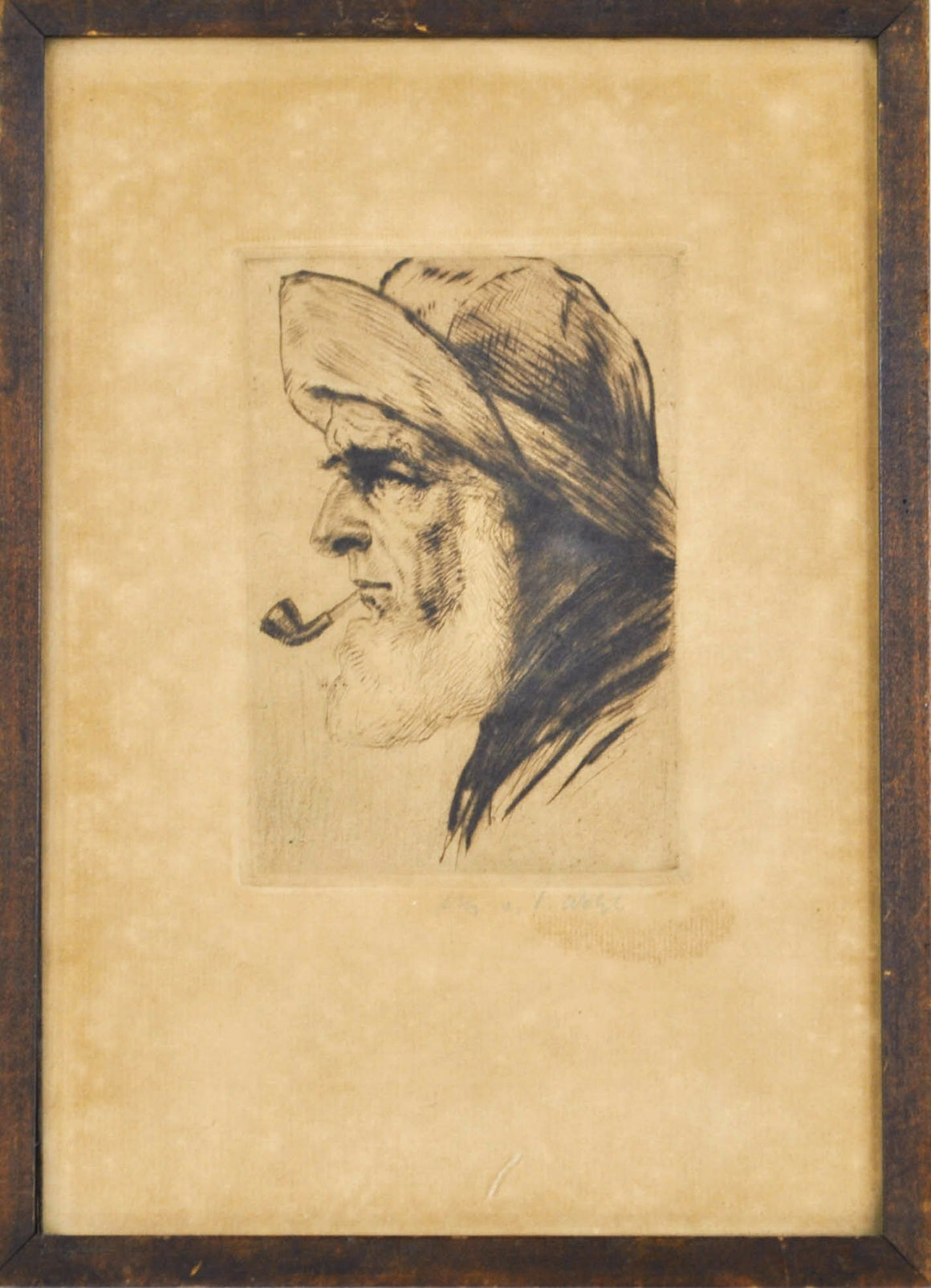 Antique Portrait Elder Man Smoking Pipe Pencil Signed Framed 7x10in