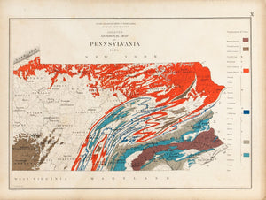 1885 Skeleton Geological Map of Pennsylvania - Lesley
