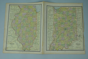 1887 Michigan Wisconsin Illinois Indiana - Cram