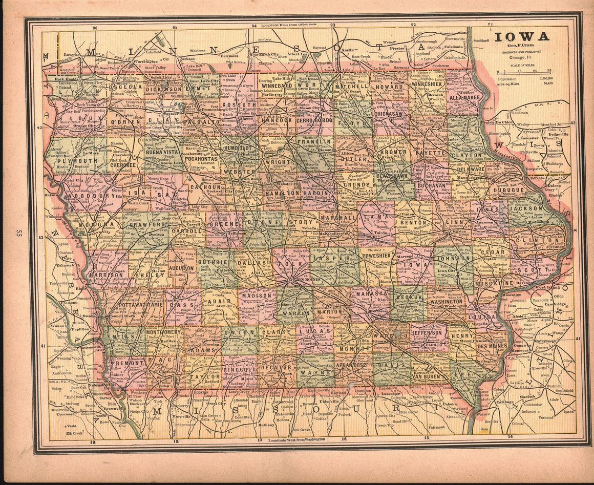 1887 Missouri Iowa - Cram