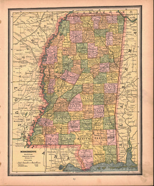 1887 Mississippi Louisiana - Cram