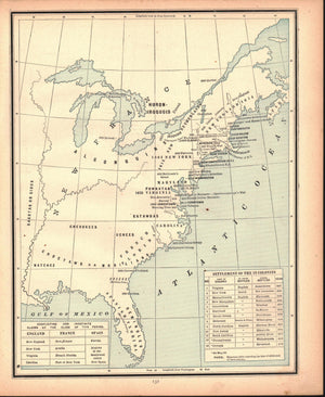 1887 Settlement of the 13 Colonies - Cram