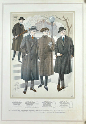 WWI Edward Rose Men's Taylor Fashion Plate Print Overcoat Collection A