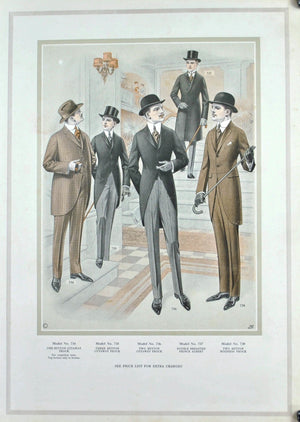 WWI Era Edward Rose Men's Taylor Fashion Lithograph Plate Print Rich Man Suit