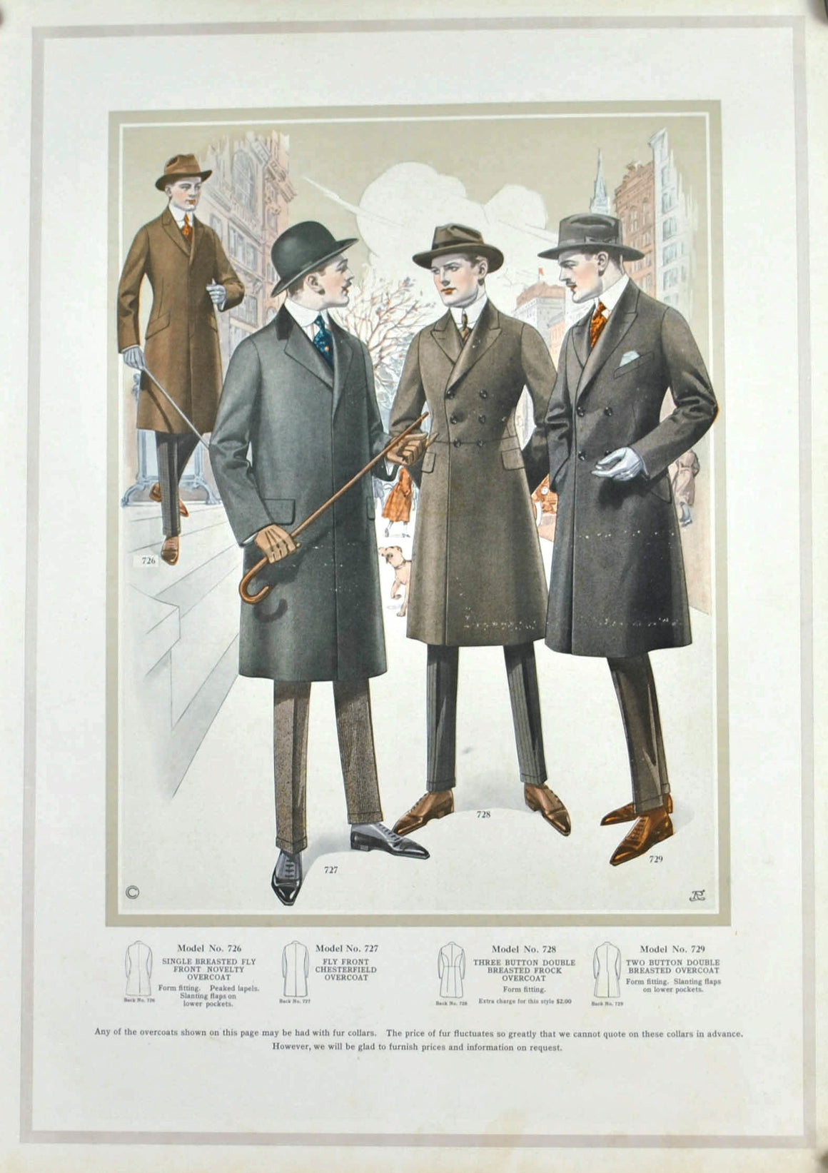 WWI Edward Rose Men's Taylor Fashion Plate Print Overcoat Collection B