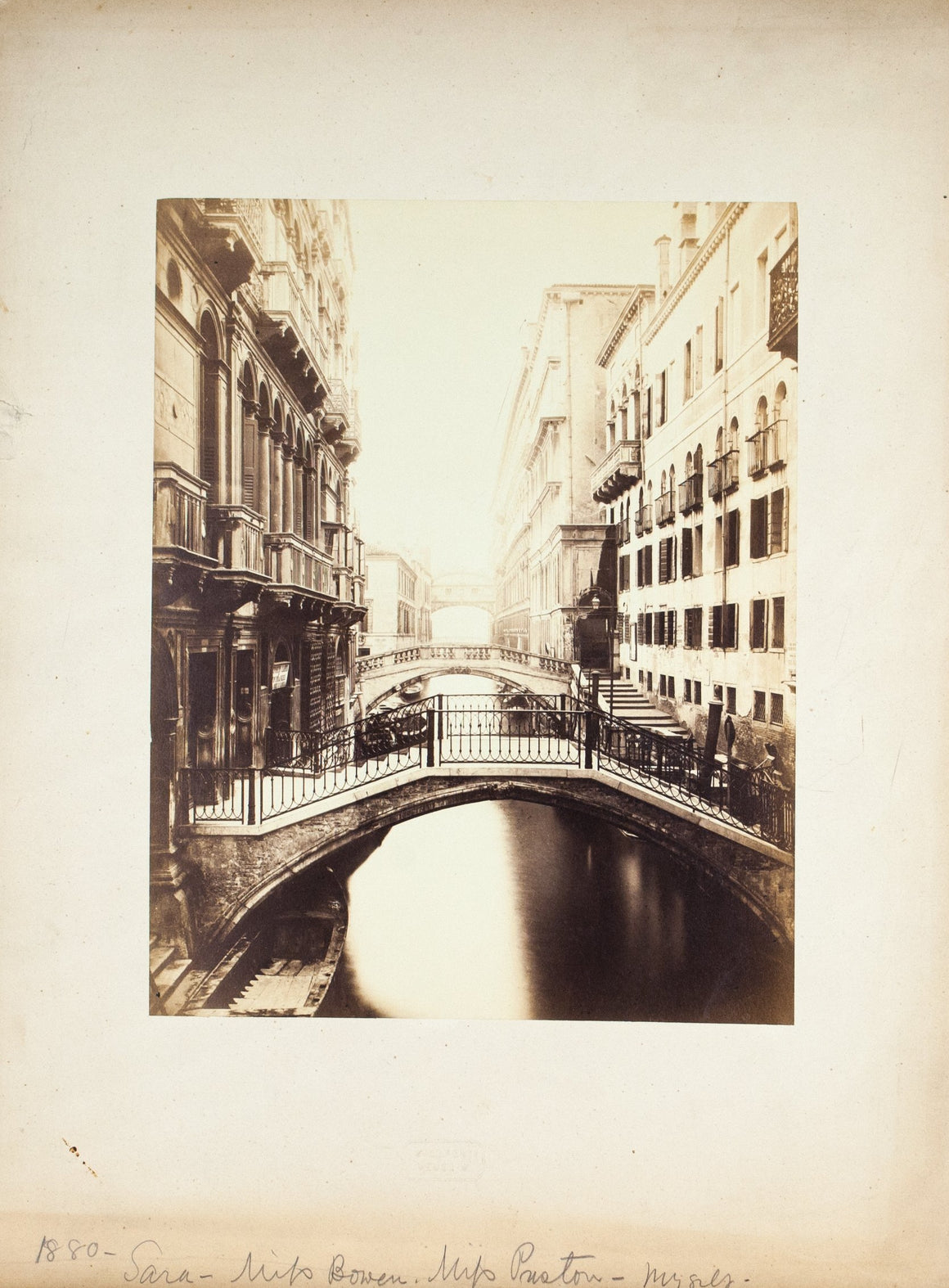 Venice Italy Canal Carlo Ponti 1880 Antique Scenic Photo