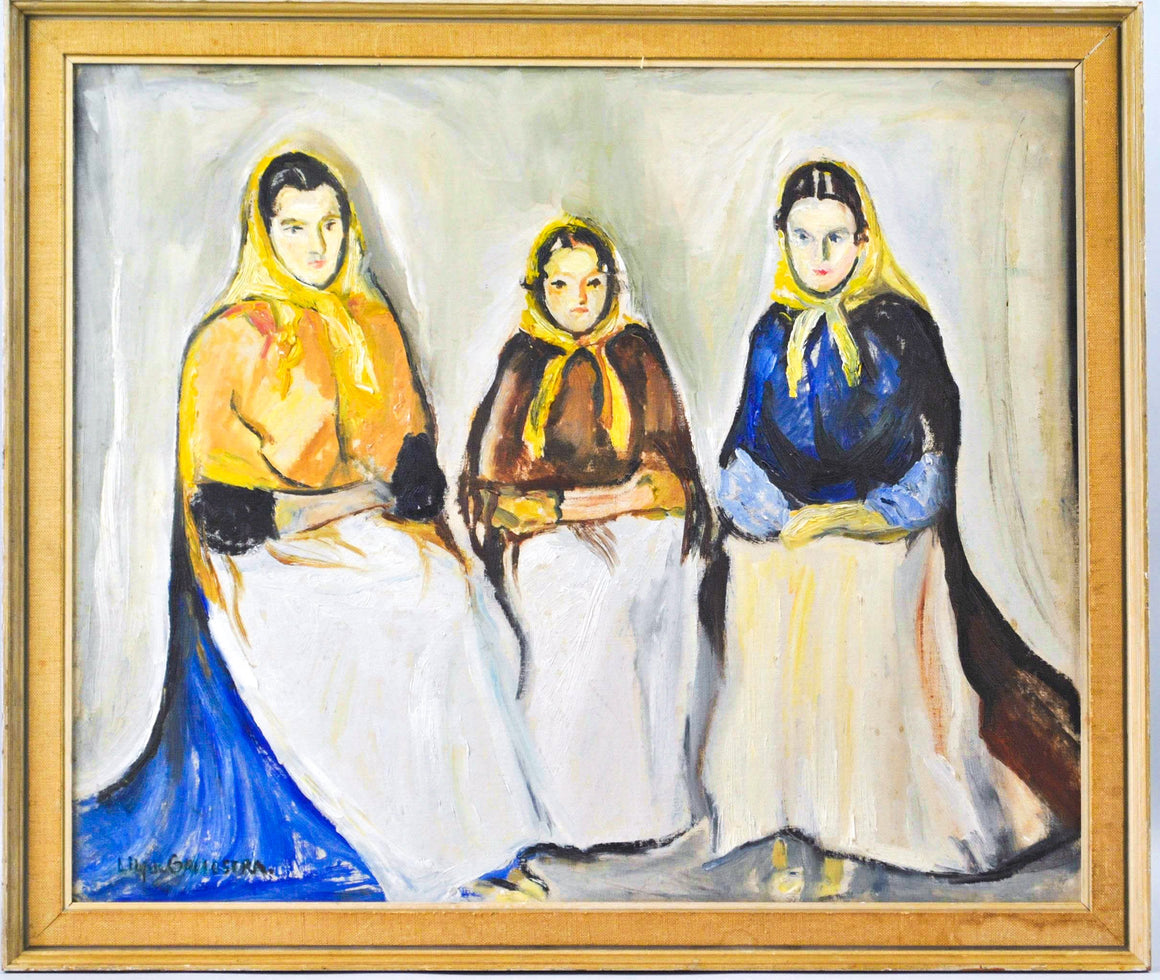 Lily de Gailostra - Three Women - Oil on Board