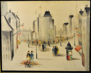 Morin - Boulevard in Paris - Signed Oil Painting - c 1950