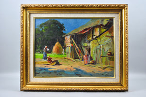 Pali - Waterside Village - Oil Painting - 1970