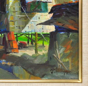 Pali - Village Street Scene -  Oil Painting - 1970