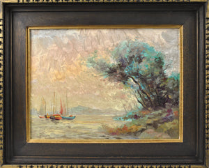 Pali - Fishing Boats - Oil Painting - 1970