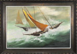 W T Hammilton - Two Sailing Ships - Oil Painting