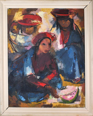 1952 Quechua Peruvian Mother with Child by Ostnowska Large Oil  Painting 34x42