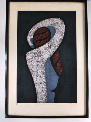 Nakao Yoshitaka Japanese Lithograph of Nude Woman 1960 Signed Framed