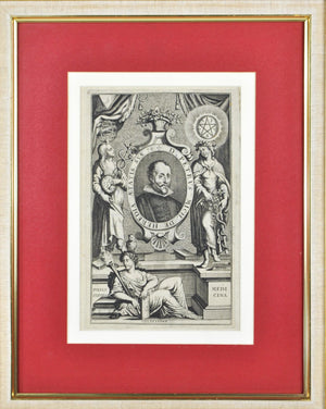 D Petrus Mich De Heredia aetis Sua Caduceus Antique Doctor Print Medical Science