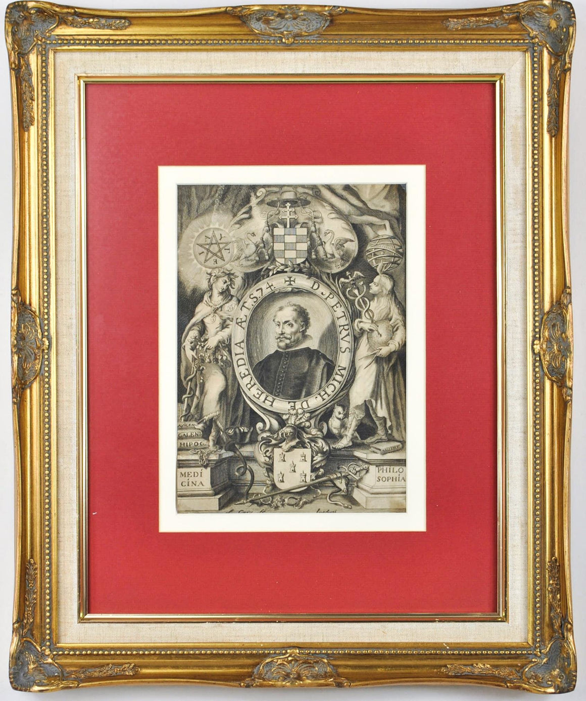 D Petrus Mich De Heredia Caduceus Antique Doctor Print