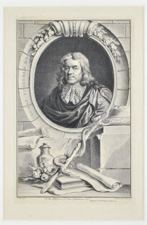 Thomas Sydenham (1624 - 1689) Antique Medical Doctor Print 1747