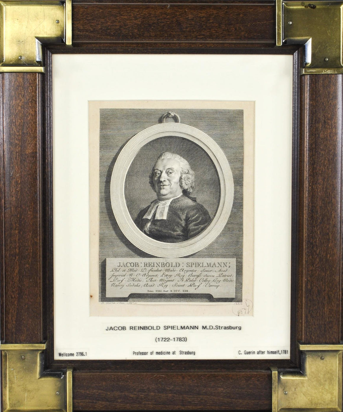 Jacob Reinbold Spielmann (1722-1783) Antique Medical Doctor Print 1781