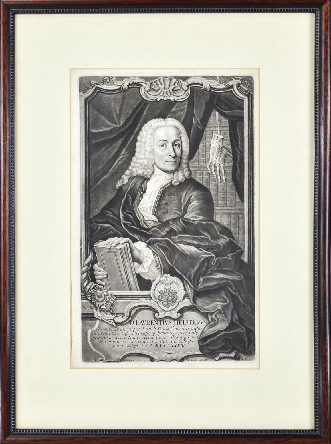 Lorenz Heister (1683-1758) Surgeon Anatomist Antique Print 1741