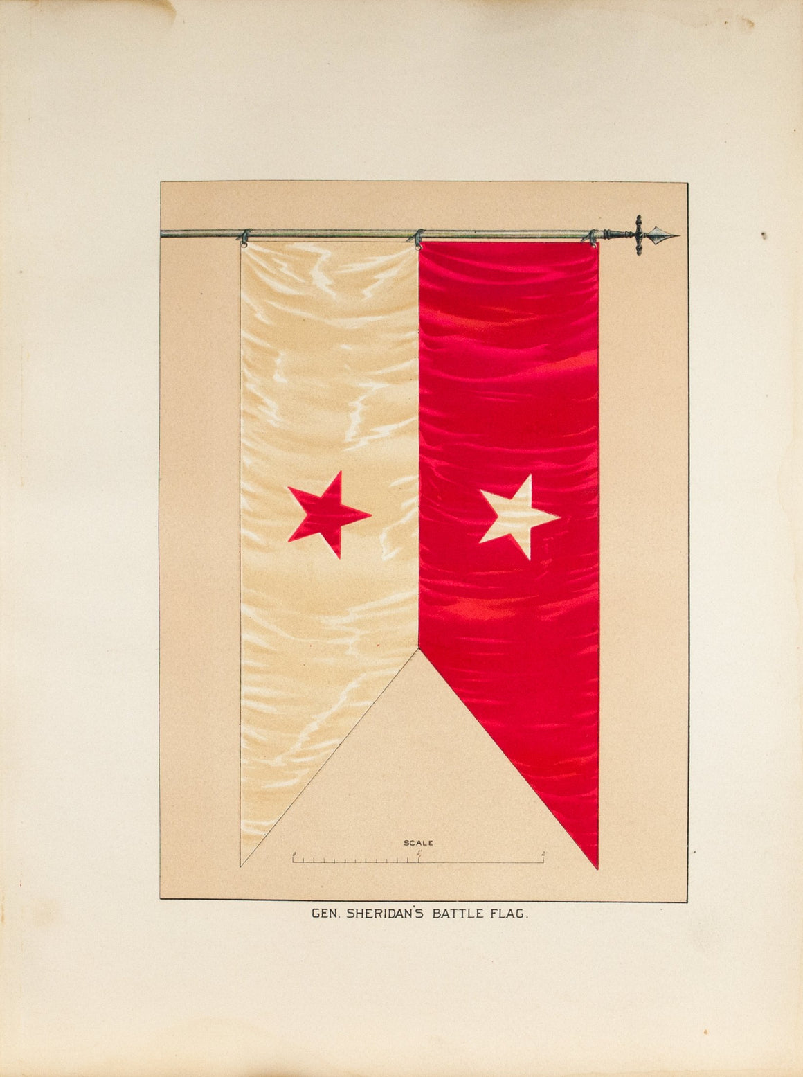General Sheridan's Battle Flag Antique Civil War Union Army Flag Print 1887