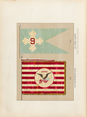 Kilpatrick & 9th Army Corps Antique Civil War Union Army Flag Print 1887